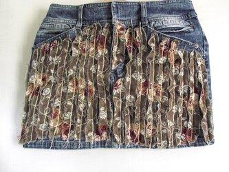 刺繍デニムスカート サイズ:Sの画像