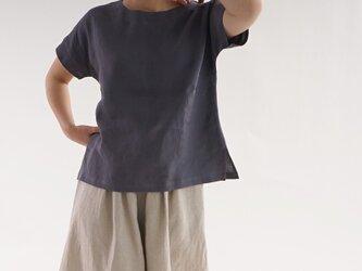 雅亜麻リネン ドロップショルダー Tシャツ/墨色  t001f-smi1の画像