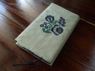 花刺繍の新書本ブックカバー ベージュチェックの画像