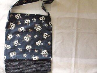 フラワー柄 布&かごバッグ ブラック 花束・コサージュの画像