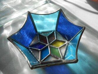ステンドグラス 小物入れ ブルー系の画像