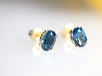 宝石質ロンドンブルートパーズのスタッドピアス【K14gf】オーバルの画像