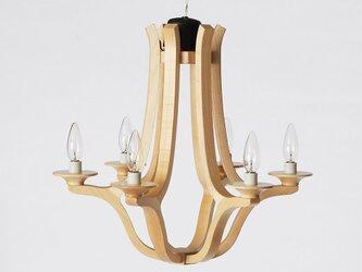 木のシャンデリア Wooden Chandelier 木製の照明の画像