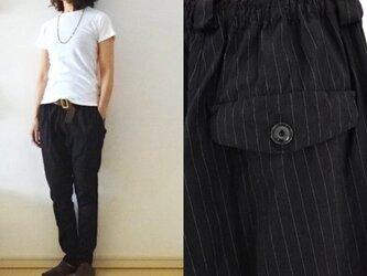 【完成品】【Мサイズ】黒ピンストライプ ハーフリネンストレッチ すらりパンツの画像