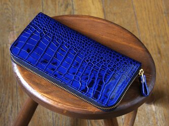 《LEO》ラウンドジップロングウォレット スリム ブルーの画像