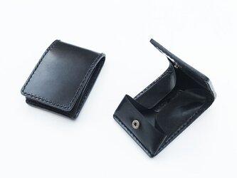 スナップボタンの折りたたみコインケース 黒の画像