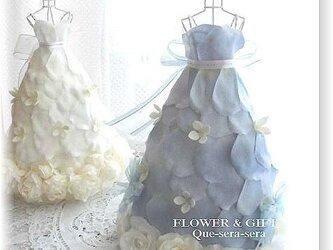 NO129 アーティフィシャルフラワー ギフト ミニドレス(ブルー) ウェディングドレス 結婚祝い 受付 誕生日 送料無料の画像