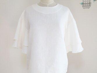 新作【ホワイト】リネン100%フレアスリーブプルオーバー♥の画像