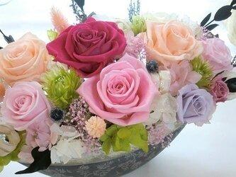 プリザーブドフラワーギフト】両親贈呈 開店祝い退職祝いにシルバーグレーの豪華な花器にの画像