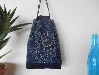 藍染木綿の巾着の画像