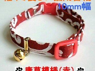 猫専用首輪 10mm幅 唐草模様(赤)Mの画像