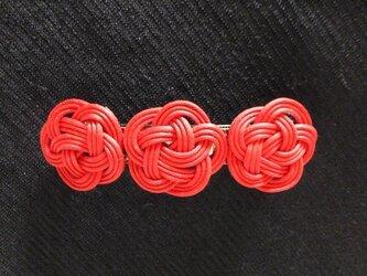ろうびき紐のバレッタ(赤)の画像