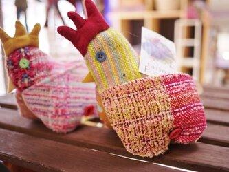 さをり織 カードスタンド 鳥オブジェの画像