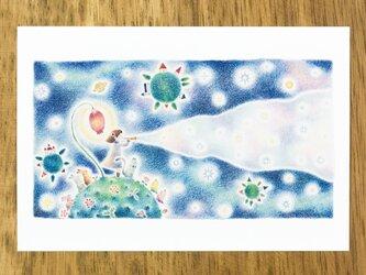 """4枚セット。絵本のような。ポストカード """"星を生みだす音色"""" PC-172の画像"""