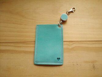 【受注製作】レザーパスケース(1ポケット・コードリール付) #heart-ミントグリーンの画像