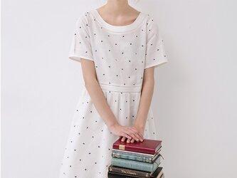 刺繍ドット大人可愛い半袖ワンピース♪の画像