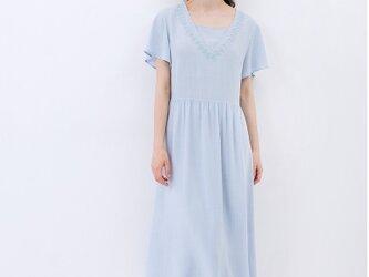 【3サイズ展開】刺繍入りシンプルな半袖ロングワンピース♪の画像