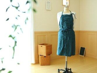 80cm丈ホルターネックエプロン/リネン(ブルーグリーン)の画像