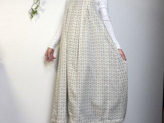 着物リメイク 絣 たっぷりフレア ロングワンピース の画像