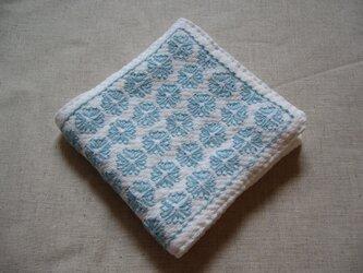 ◆◇◆レトロ花刺繍のハンカチ【ice blue】◆◇◆の画像