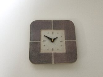 スクエア 掛け時計 ラベンダーの画像