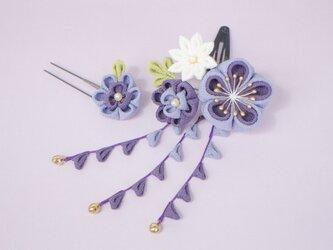 《受注制作》 ぽてっと可愛いミニブーケの髪飾り♡パープルグラデーション 紫 かんざし つまみ細工 梅 着物 和小物 浴衣の画像