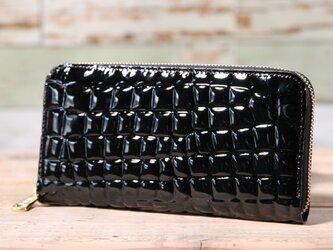 日本産 クリアクロコ型押し 黒 長財布 ラウンドファスナー 皮 ハンドメイド 手作りの画像