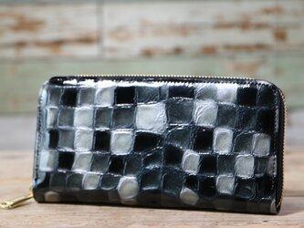 ステンドグラス ブラック 長財布 ラウンドファスナー 牛革 皮 ハンドメイド 手作りの画像