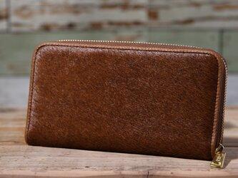 イタリア産 毛付き牛革 茶 長財布 ラウンドファスナー 牛革 皮 ハンドメイド 手作りの画像