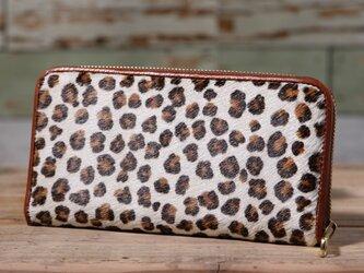 イタリア産 毛付き牛革 レオパード 白×茶 長財布 ラウンドファスナー 牛革 皮 ハンドメイド 手作りの画像