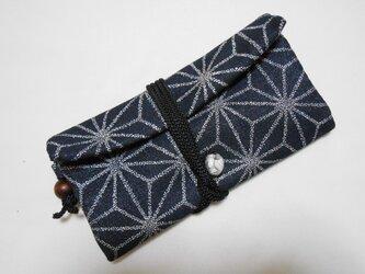 特選 #道中財布 濃紺銀ラメデニム #麻の葉 銀色 #三つ折り財布の画像