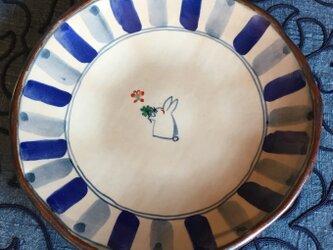 再・再・再出品 四ツ葉のクローバーとうさぎの八寸皿の画像