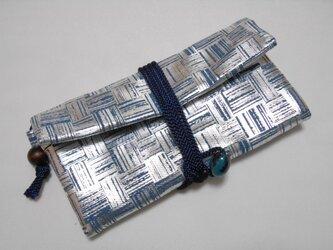特選 #道中財布 薄紺製デニム #艶あり銀 市松 #三つ折り財布の画像