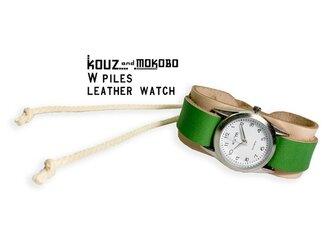 ▲WPILES アウトドアスタイルに似合わせヌメ×ミドリ「Wパイルズ 腕時計」金属アレルギー◎(WPW-WGG-W)の画像