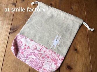 体操服袋ピンク花(定形外送料無料)の画像
