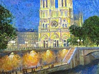 パリの街角 ノートルダム大聖堂 ライトアップの画像
