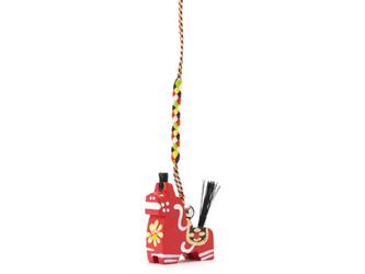 八幡馬 ストラップ 赤の画像