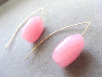 シャーベットカラー染ホワイトジェイド×14kgfピアス(ピンク/Sp)の画像