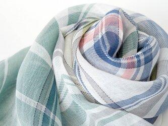 手織りリネンストール【彩風*06】の画像