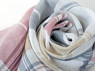 手織りリネンストール【彩風*07】の画像