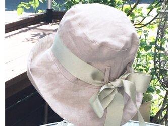 亜麻色 リネン 帽子  50〜65cmの画像