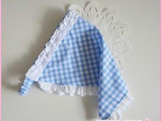 チェックフリルの三角巾A−子供用の画像