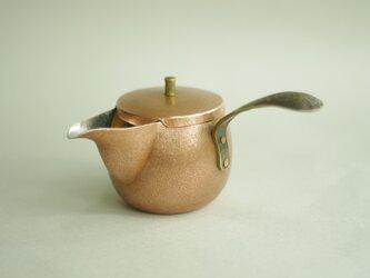 銅製急須(横取手、荒鎚仕上)の画像