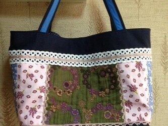 PJC花冠刺繍 帆布 パッチワークトートバッグの画像