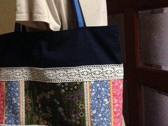 PJC花冠刺繍生地 帆布 たっぷりトートバッグの画像