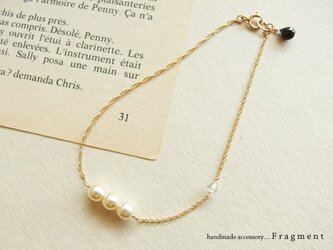 French Vintage Pearl*スワロフスキー*オニキス K14gfブレスレットの画像