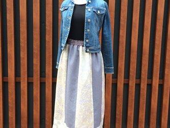 パッチワークのスカート(ブルー)の画像