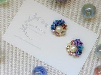 【送料無料】あじさいカラーflower&cotton pearlピアス/イヤリング#122の画像