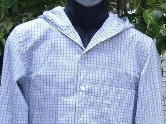 珍しいフード付きチエックメンズシャツM寸相当送料無料の画像