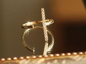 ダイヤモンド 縦ラインオープンリング / K10YG【受注製作】の画像
